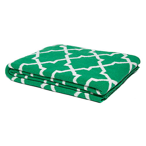 Morocco Reversible Cotton Throw, Kelly Green