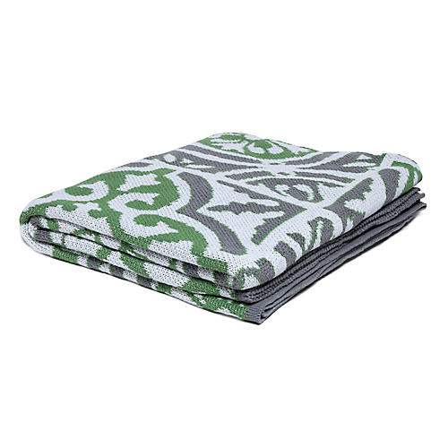 Vintage Tile Outdoor Throw, Fern Green