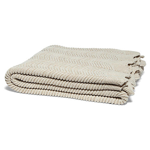 Eco Pointelle Throw, Flax