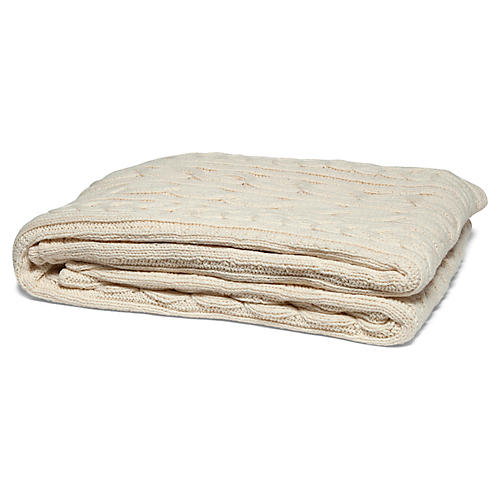 Fisherman Cable Cotton Throw, Natural