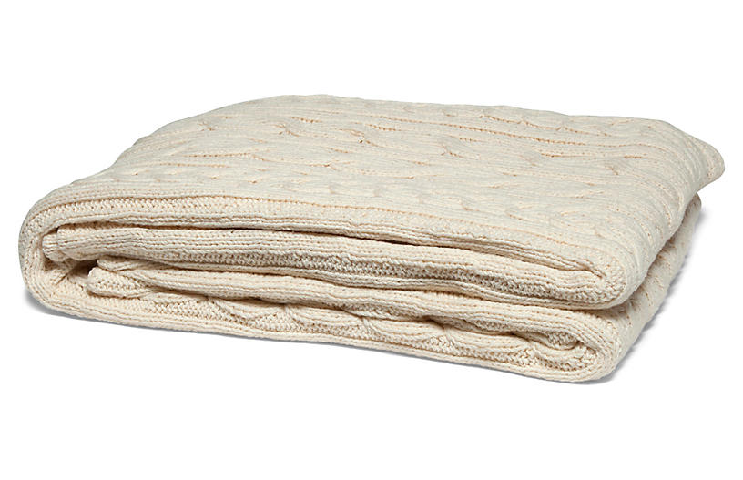 Fisherman Cable Cotton Throw - Natural - In2Green
