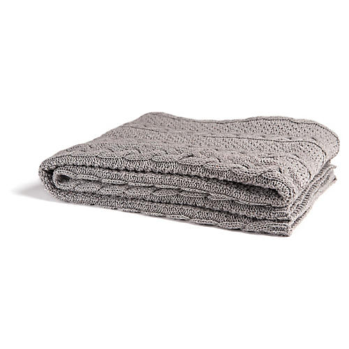 Eco Heathered Cable Throw, Gray