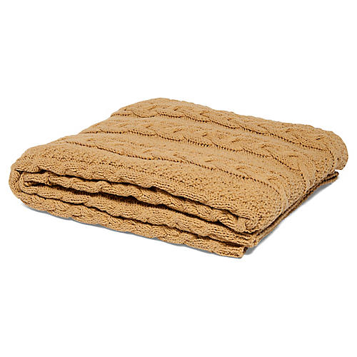 Eco Heathered Cable Throw, Straw Yellow