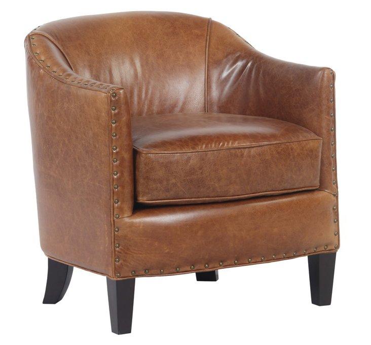 Samuel Leather Chair, Saddle Brown