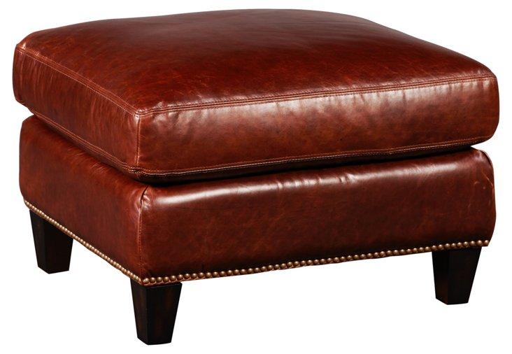 Colton Leather Ottoman, Saddle Brown