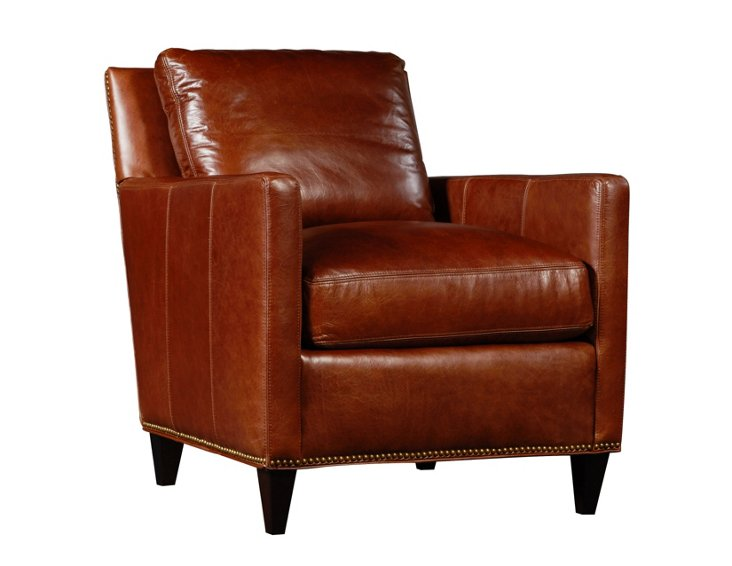 Porter Leather Chair, Saddle Brown