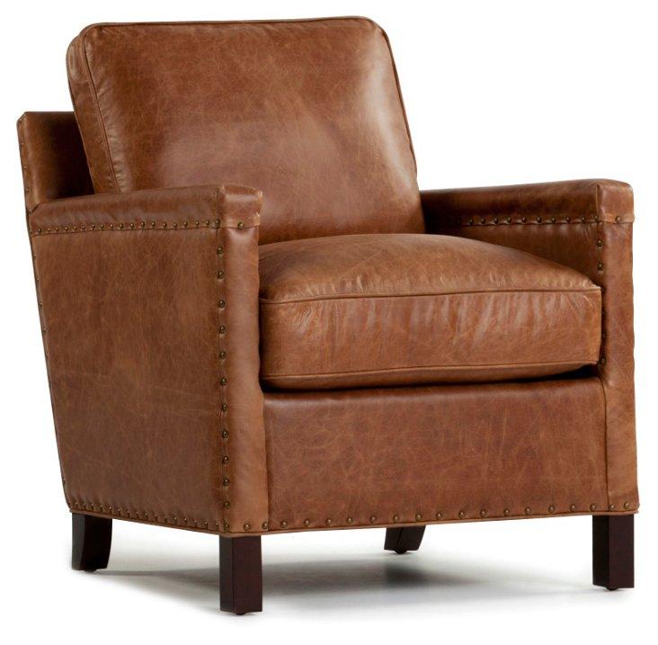 Rhonan Leather Chair, Saddle Brown