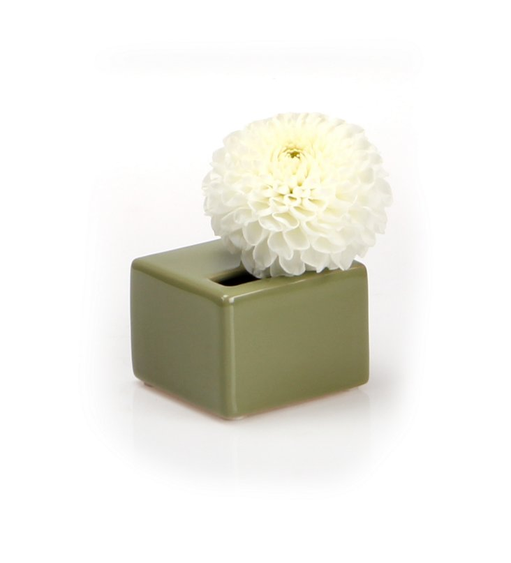 S/3 Cube Vases, Olive Green
