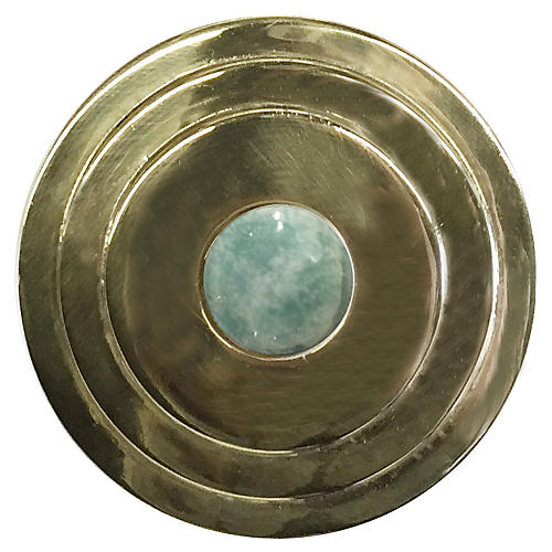 Perry Round Knob, Antiqued Brass/Amazonite