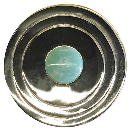 Perry Round Knob, Nickel/Amazonite