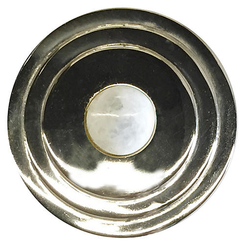 Perry Round Knob, Nickel/Moonstone