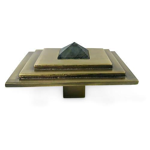 Perry Square Knob, Antiqued Brass/Labradorite
