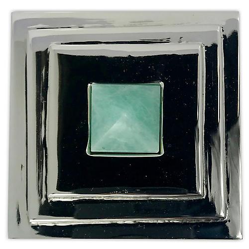 Perry Square Knob, Nickel/Amazonite