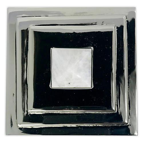Perry Square Knob, Nickel/Moonstone