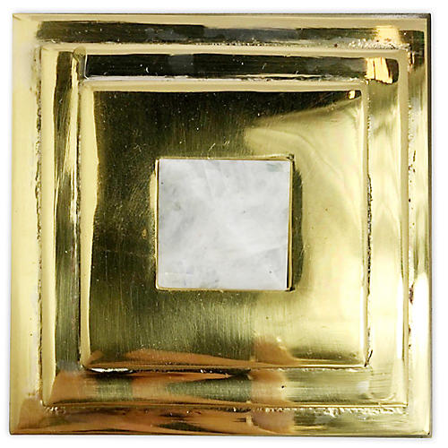Perry Square Knob, Brass/Moonstone