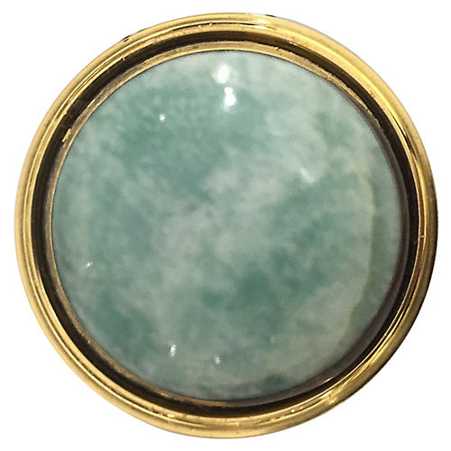 Lane Pull, Brass/Amazonite