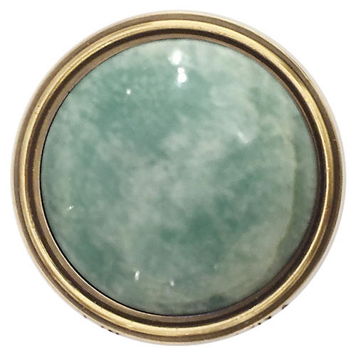 Lane Pull, Antiqued Brass/Amazonite