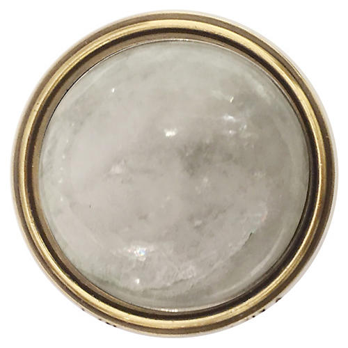 Lane Pull, Antiqued Brass/Moonstone