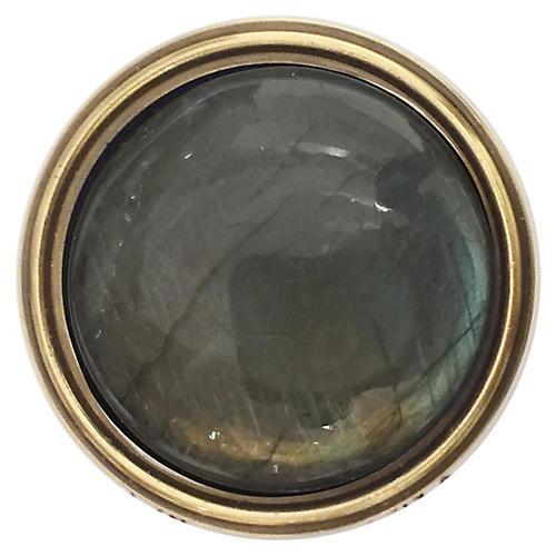 Lane Pull, Antiqued Brass/Labradorite