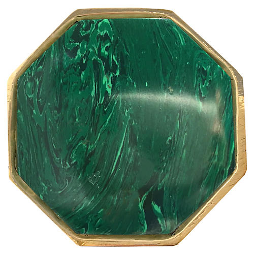 Harrison Large Pull, Brass/Malachite