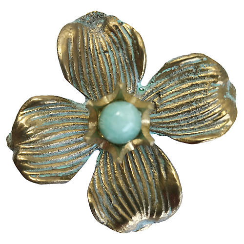 Dogwood Small Pull, Antiqued Brass/Amazonite
