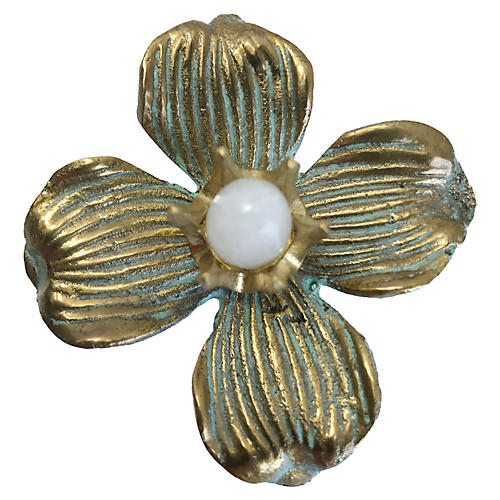 Dogwood Small Pull, Antiqued Brass/Moonstone