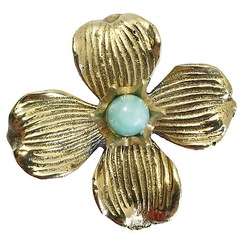 Dogwood Small Pull, Brass/Amazonite