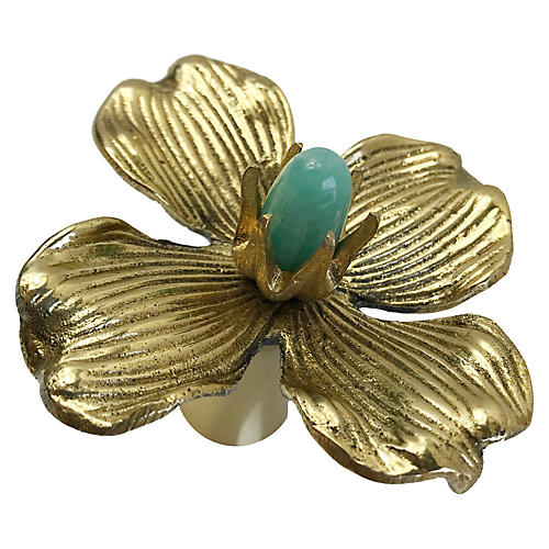 Dogwood Large Pull, Brass/Amazonite
