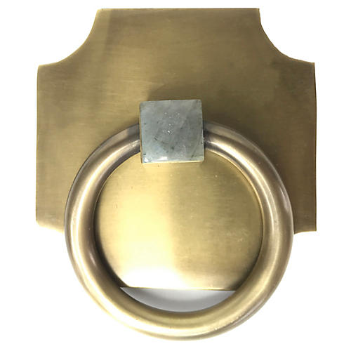 Porter Backplate Ring, Antiqued Brass/Moonstone