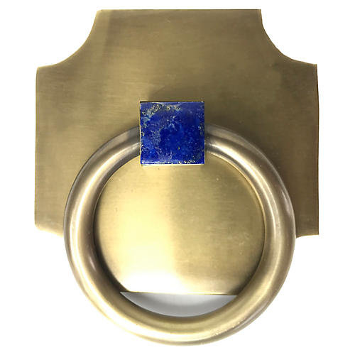 Porter Backplate Ring, Antiqued Brass/Lapis