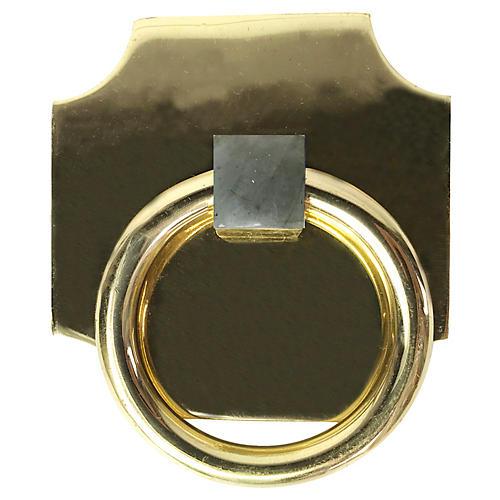 Porter Backplate Ring, Brass/Labradorite