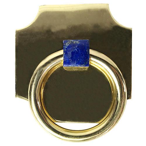 Porter Backplate Ring, Brass/Lapis