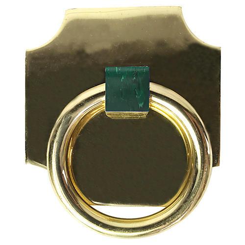 Porter Backplate Ring, Brass/Malachite