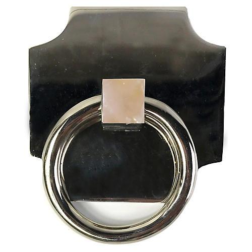 Porter Backplate Ring, Nickel/Rose Quartz