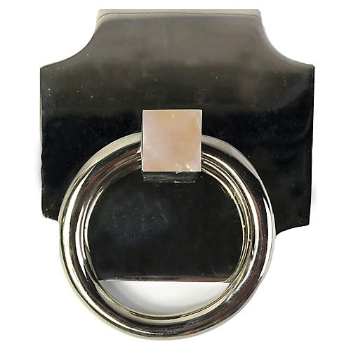 Porter Backplate Ring, Nickel/Rose Quartz