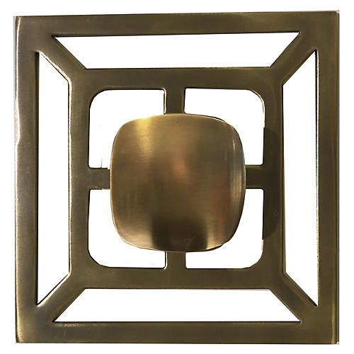 Benson Backplate Pull, Antiqued Brass