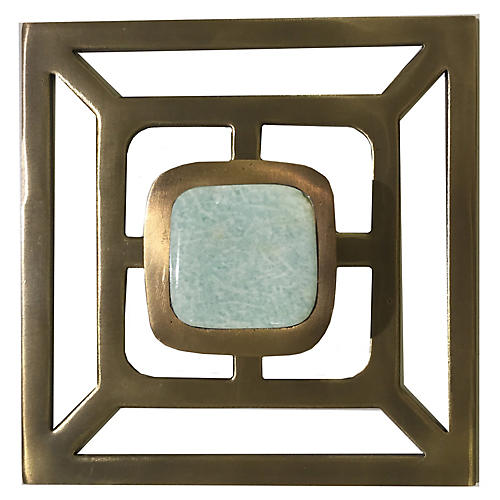 Benson Backplate Pull, Antiqued Brass/Amazonite