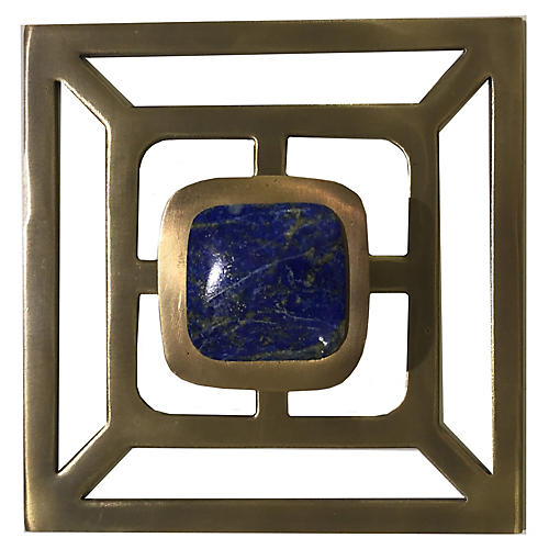Benson Backplate Pull, Antiqued Brass/Lapis