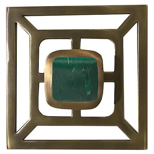 Benson Backplate Pull, Antiqued Brass/Malachite