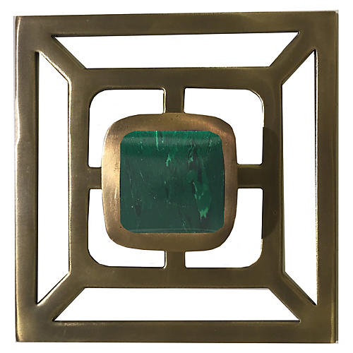 Benson Backplate Pull, Antiqued Brass/Malachite