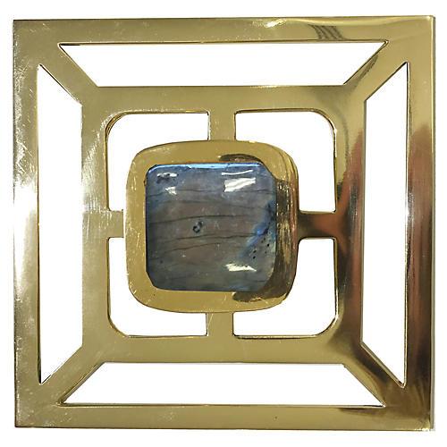Benson Backplate Pull, Brass/Labradorite