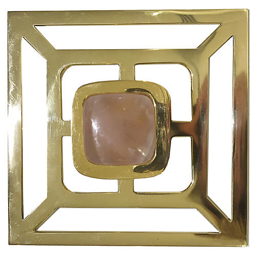 Benson Backplate Pull, Brass/Rose Quartz