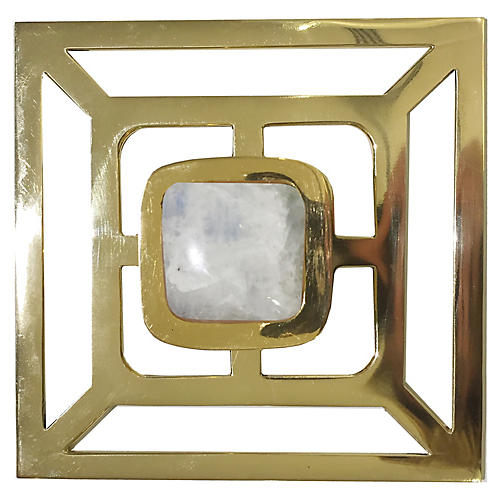 Benson Backplate Pull, Brass/Moonstone