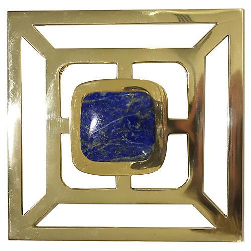 Benson Backplate Pull, Brass/Lapis
