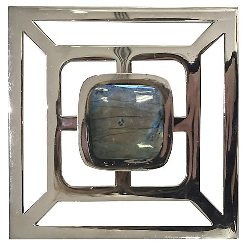 Benson Backplate Pull, Nickel/Labradorite