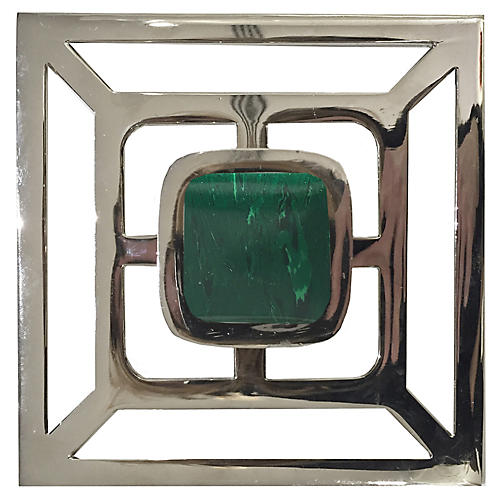 Benson Backplate Pull, Nickel/Malachite