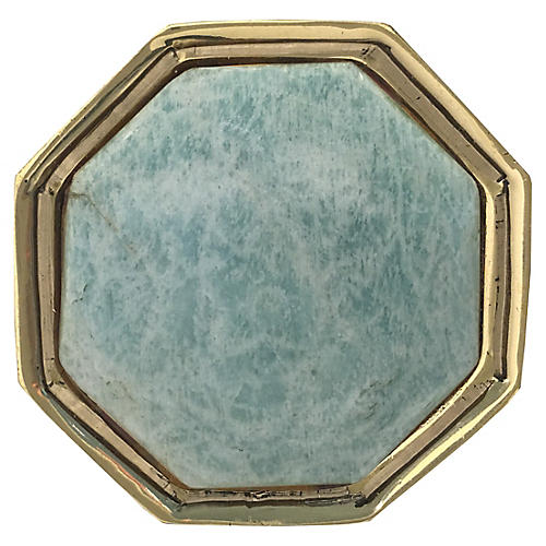 Harrison Small Pull, Brass/Amazonite