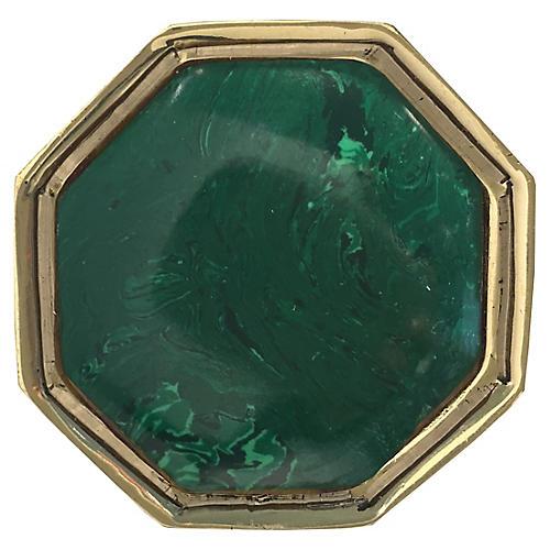 Harrison Small Pull, Brass/Malachite