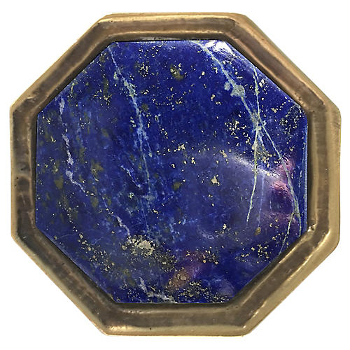 Harrison Small Pull, Antiqued Brass/Lapis