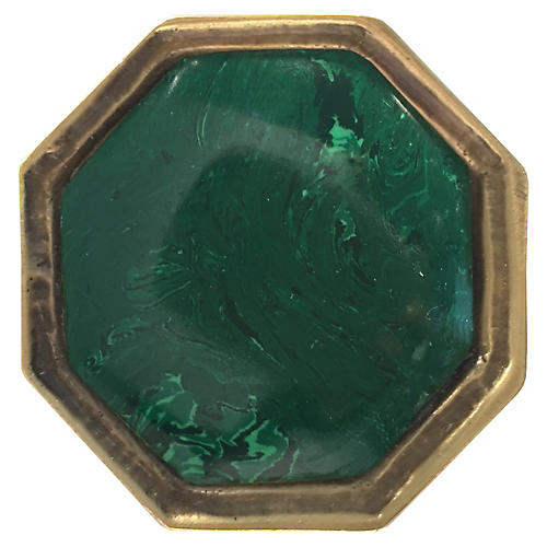 Harrison Small Pull, Antiqued Brass/Malachite